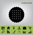 round biscuit sign  black icon at gray vector image