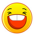 laughing yellow emoticon icon cartoon style vector image