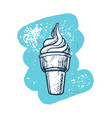 ice cream cone hand drawn icon vector image