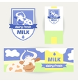A set of promotional items for dairy products vector image