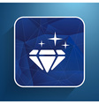 a blue diamond icon glitter icon stone vector image