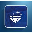 a blue diamond icon glitter icon stone vector image