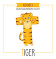alphabet letter t and tiger vector image