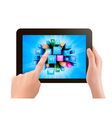 Hand holding touch pad pc and finger touching its vector image
