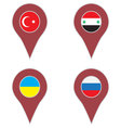 Pin location country set vector image