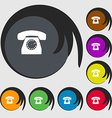 Retro telephone icon symbol Symbols on eight vector image