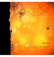 Autumn background with spiders and web vector image vector image