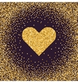 Valentine s Day symbol Heart Gold sparkles and vector image
