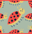 cute ladybug cartoon red insect nature bug vector image