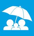 family under umbrella icon white vector image