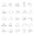 various black hats outline icons set eps10 vector image