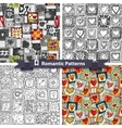 Set of romantic patterns with doodle hearts vector image