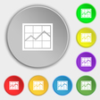 Chart icon sign Symbol on eight flat buttons vector image