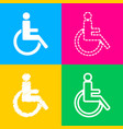 disabled sign four styles of icon on vector image