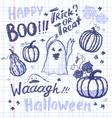 Halloween ink hand drawn ghosts and pumpkins vector image
