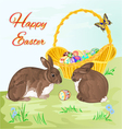 Happy Easter rabbits and easter basket vector image