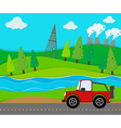 Red jeep riding on the road vector image