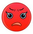 red upset emoticon icon cartoon style vector image