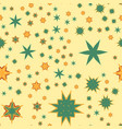 seamless texture yellow stylized flowers and stars vector image