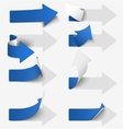 Set of blue paper arrow stickers vector image