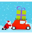 Santa pushing christmas car with gift vector image