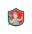 Plumber Monkey Wrench Thumbs Up Shield Cartoon vector image