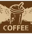 coffee cup with wings vector image vector image