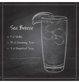 Cocktail Sea Breeze on black board vector image