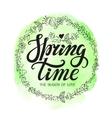 Spring time letteringDoodle floral wreath vector image
