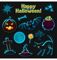 Happy halloween sticker set with characters and vector image