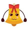 kawaii christmas jingle bell sad cartoon vector image