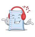 listening music notebook character cartoon design vector image