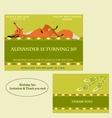 Red fox Birthday Invitation Boho style vector image
