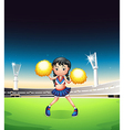A young woman dancing at the soccer field vector image vector image