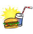 burger and soda vector image