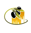 Olives with golden dripping olive oil vector image