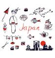 Set of Japan symbols - hand drawn design vector image