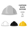 construction helmet icon in cartoon style isolated vector image