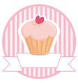 Cupcake button logo or wedding invitation card vector image