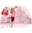 Lady Having a Ball On Holiday Shopping vector image