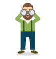 man with a beard looks at the big binoculars vector image