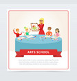 teacher and children at drawing lesson vector image