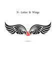 n-letter sign and angel wingsmonogram wing logo vector image
