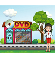 A girl in front of the dvd store vector image