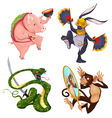 Pig rabbit snake and monkey vector image