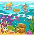People swimming in the ocean vector image vector image