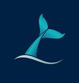whale tail wave logo sign emblem on dark blue vector image vector image