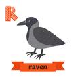 Raven R letter Cute children animal alphabet in vector image