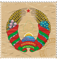 Coat of arms of Belarus on the old postage stamp vector image