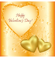 Festive greeting card with golden hearts vector image